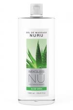 Gel massage Nuru Aloe Vera Mixgliss - 1 litre : Gel de massage NÜ par Mixgliss pour redécouvrir le plaisir du massage Nuru. Formule enrichie en Aloe, flacon de 1 Litre.