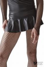 Mini jupe taille basse noire - Regnes : Mini jupe en wetlook pour laisser entrevoir le bas des fesses.