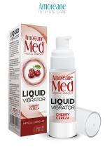 Lubrifiant Liquid Vibrator Cerise 30ml - Amoreane Med - Gel lubrifiant médical à base d'eau avec effet vibrant, parfumé à la cerise, par Amoréane Med.