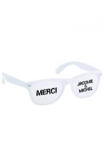 Lunettes Blanc blanc - Jacquie & Michel - Lunettes promotionnelles à l'effigie de Jacquie et Michel, le site de sexe amateur incontournable. Monture blanc et verres blancs.