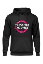 Sweat à capuche J&M logo rond - Sweat-shirt à capuche noir avec logo rond  on dit merci qui  de Jacquie et Michel sur le devant.