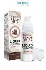 Lubrifiant Liquid Vibrator Chocolat 30ml - Amoreane Med : Gel lubrifiant médical à base d'eau avec effet vibrant, parfumé au chocolat, par Amoréane Med.
