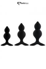 Coffret 3 plugs anal Bibi Twin - noir - Kit de 3 Plugs Anal en silicone, tailles différentes et formes spécifiques pour décupler le plaisir, par FeelzToys.