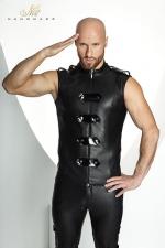 Veste STRONGER Clipped  : Veste sans manches ras du cou style uniforme d'apparat, fermée par un zip et des bandes de vinyle brillant.